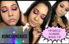 SPARKLY PINK BARBIE MAKE-UP|| Ft Switch beauty UnicornSauce palette || Ft NYX glitter
